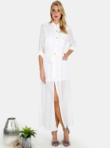 Button Down Waist Tie Maxi Dress IVORY