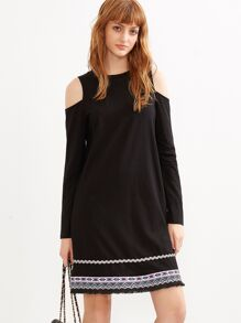 Black Open Shoulder Tribal Print Hem Dress