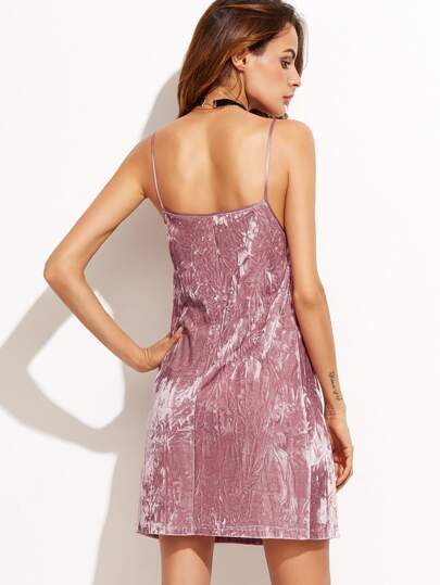 Pink Velvet Slip Dress -SheIn(Sheinside)