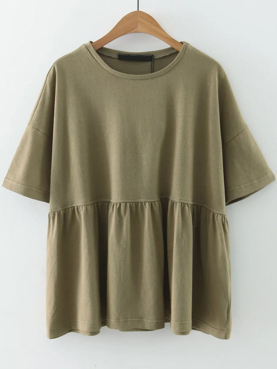 Army Green Elbow Sleeve Ruffle Hem TopArmy Green Elbow Sleeve Ruffle Hem Top<br><br>color: Green<br>size: L,M,S
