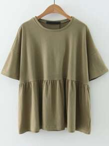 Army Green Elbow Sleeve Ruffle Hem Top