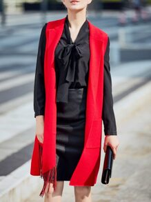 Red Knit Pockets Tassel Cardigan