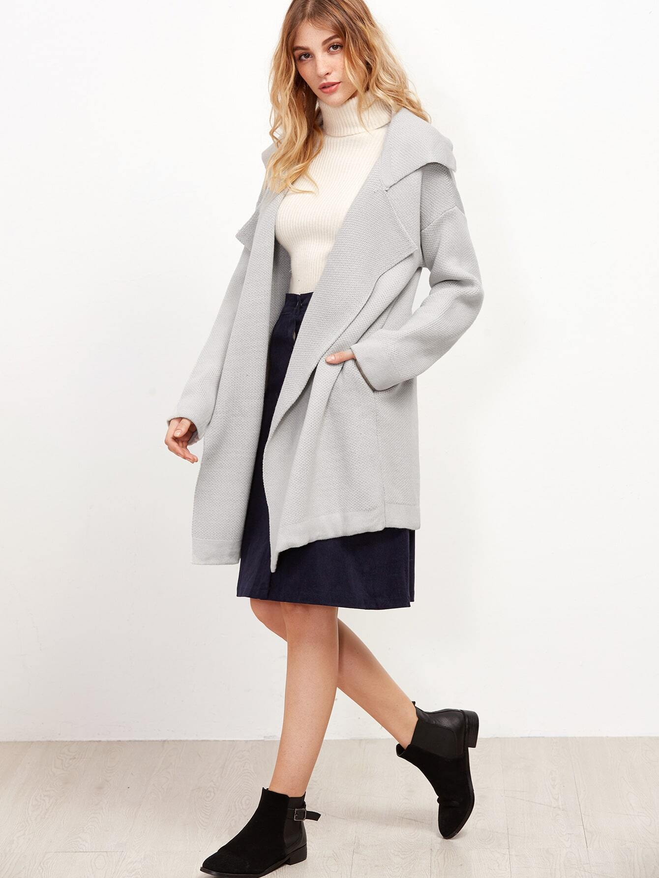 Grey Notch Collar Drop Shoulder Sweater Coat