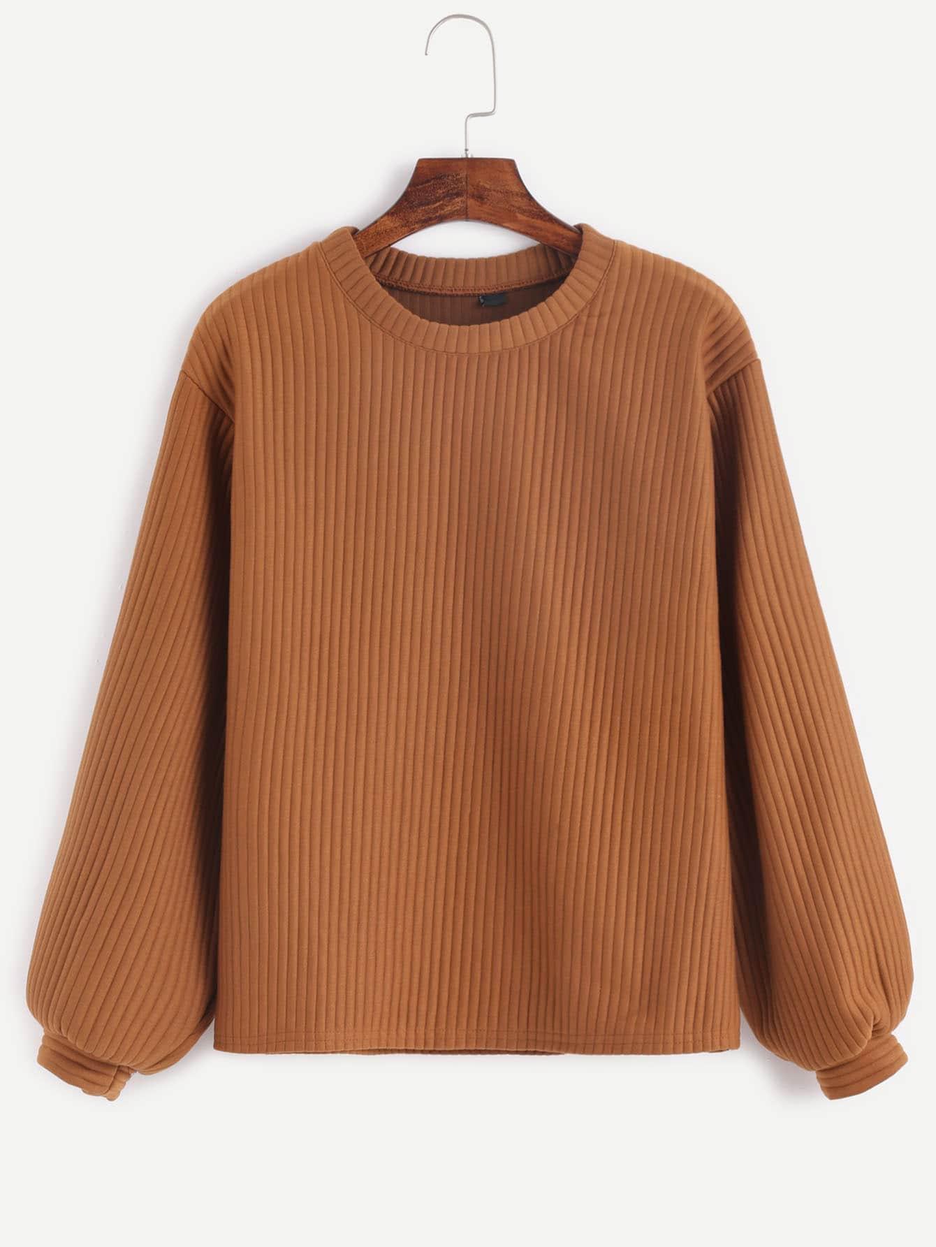 Khaki Long Sleeve Ribbed Sweatshirt sweatshirt160927102