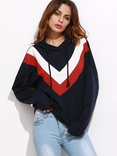 Drop Shoulder Chevron Pattern Hoodie