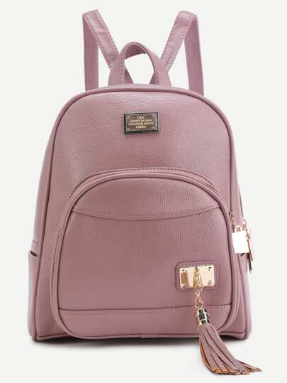 Metallic Embellished Front Tassel Backpack