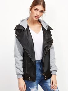 Contrast Sleeve Oblique Zipper Faux Leather Hooded Jacket