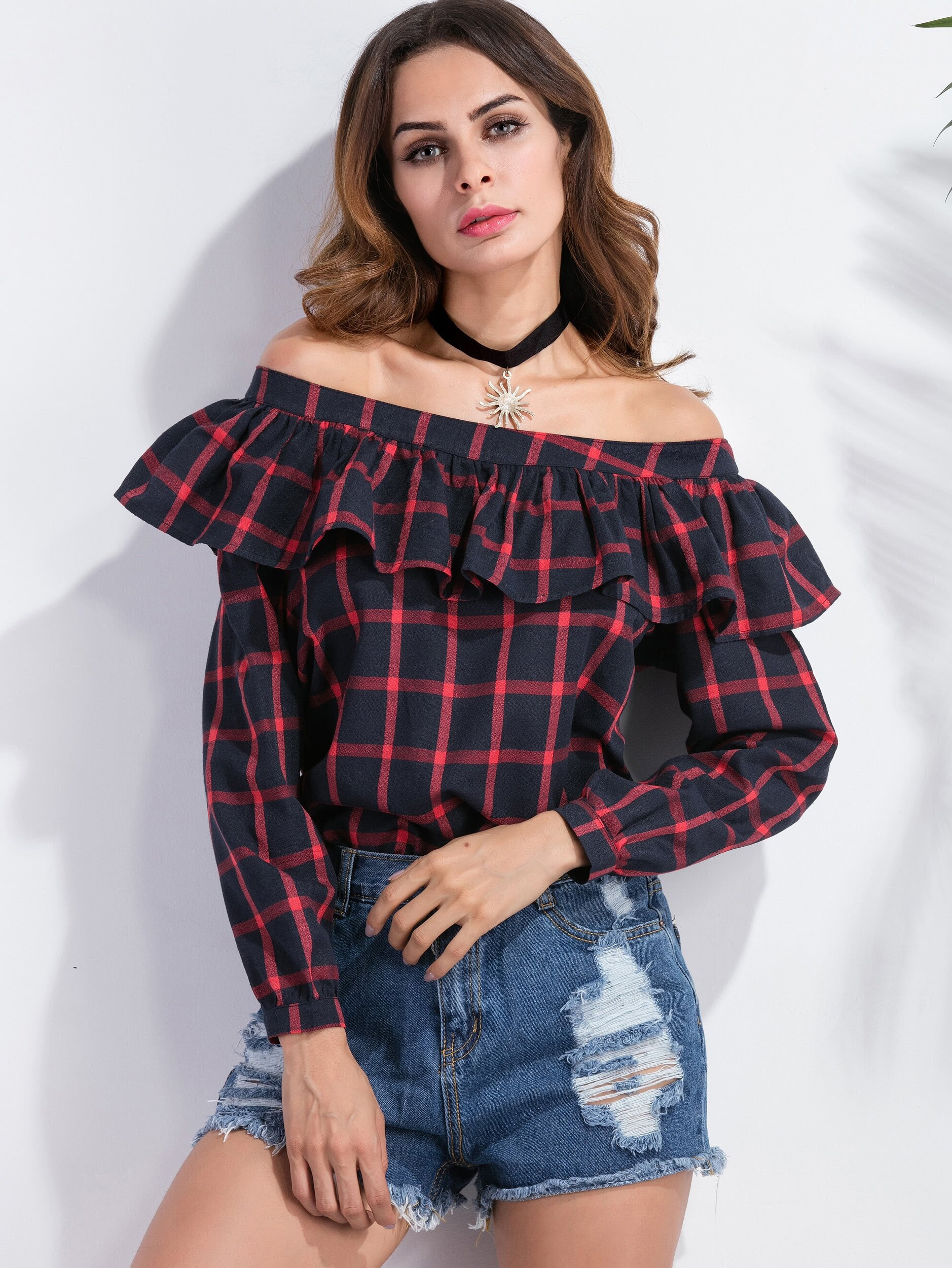 Windowpane Plaid Off The Shoulder Ruffle Trim Top