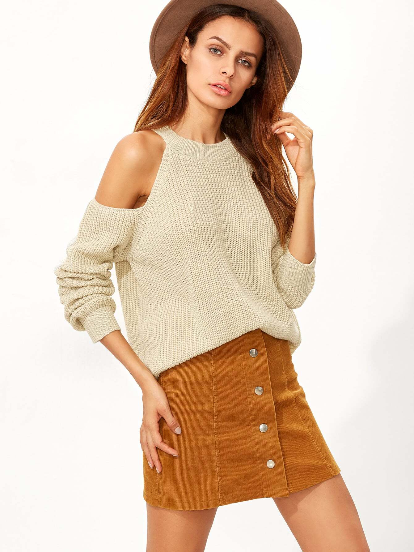 Image of Apricot Cold Shoulder Sweater
