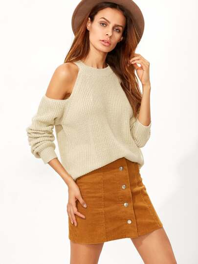 Apricot Cold Shoulder Sweater