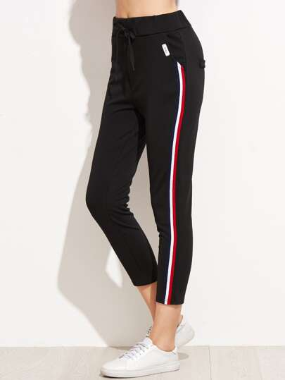 Striped Side Drawstring Pants