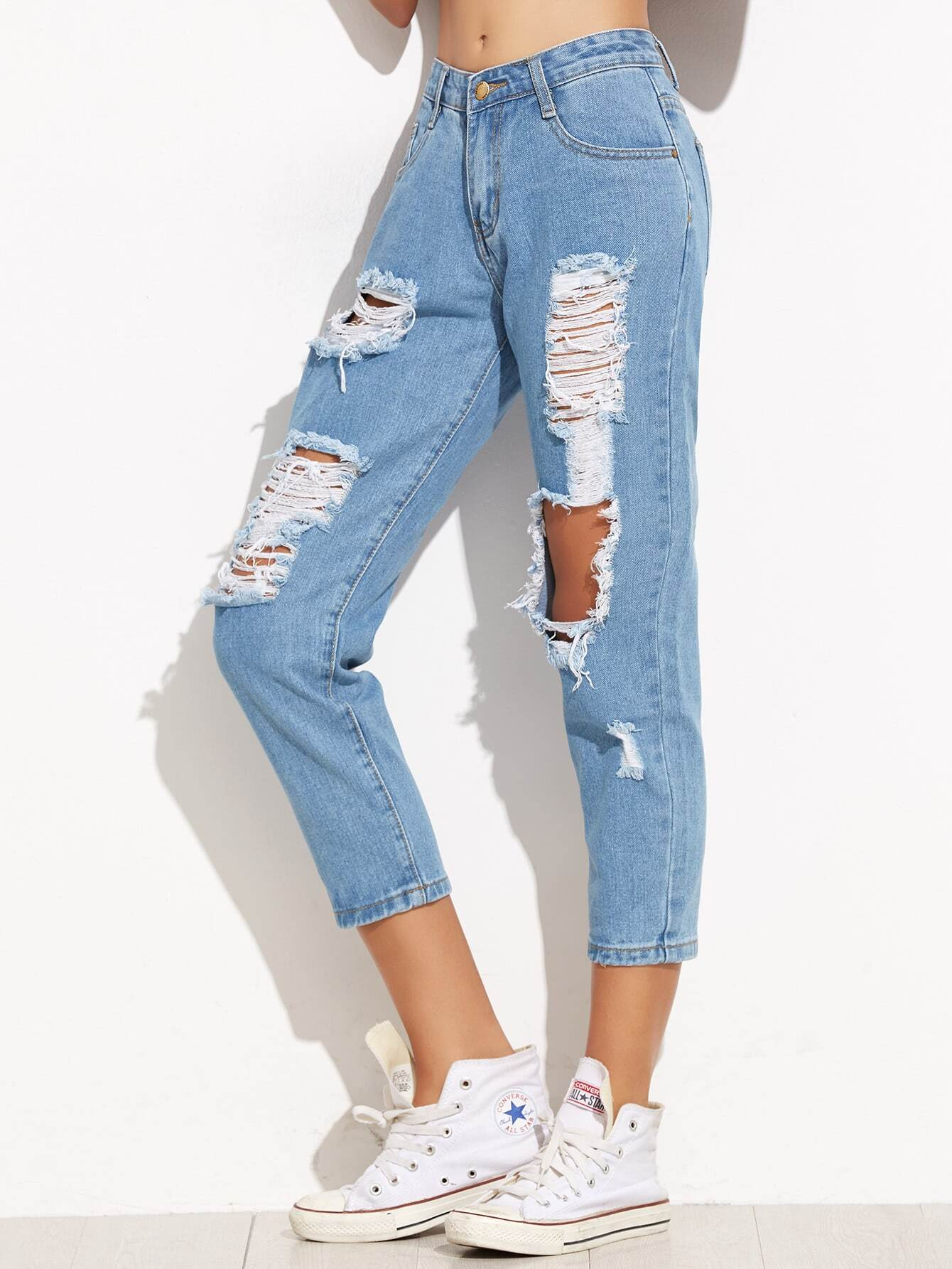 Blue Ripped Skinny Ankle JeansBlue Ripped Skinny Ankle Jeans<br><br>color: Blue<br>size: L,M,S