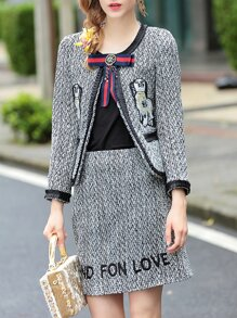 Black Bowknot Top With Houndstooth Woolen Skirt