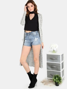 Longline Stretch Knit Cardigan BLACK IVORY