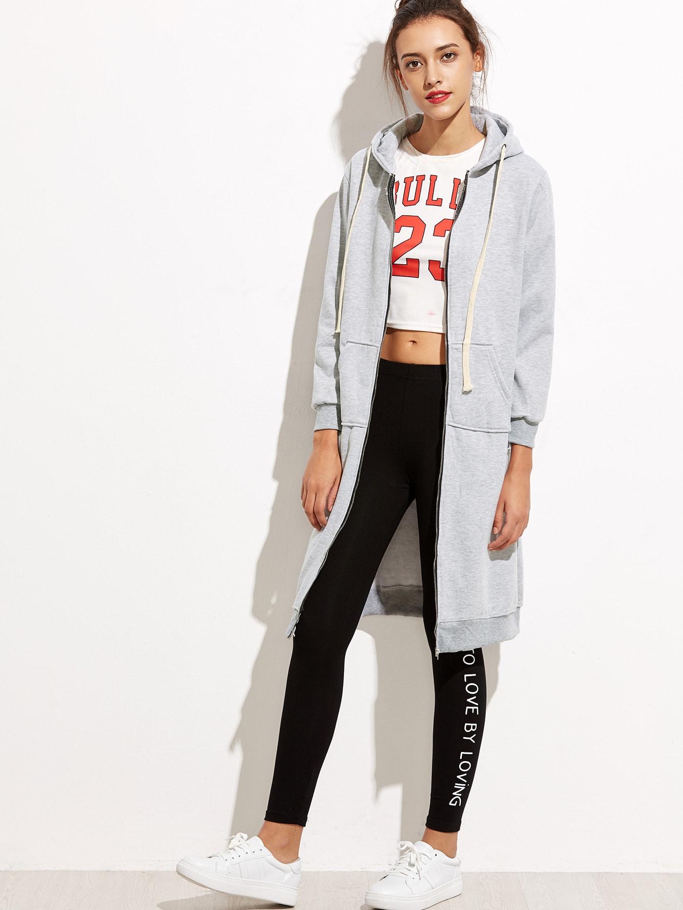 Grey Hooded Long Sweatshirt sweatshirt160921101