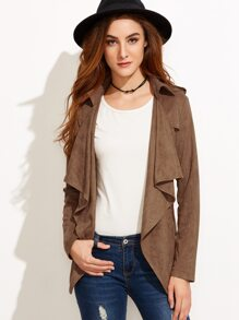 Coffee Faux Suede Waterfall Collar Wrap Coat