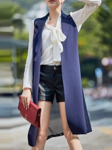Purple Lapel Tie-Waist Mesh Sheer Vest