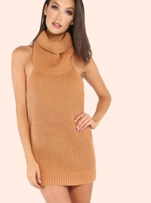 Low Back Cowl Neck Mini Sweater Dress TAN
