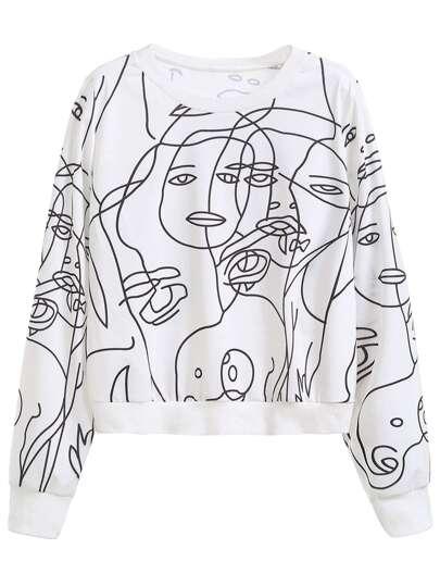 White Graphic Print Sweatshirt