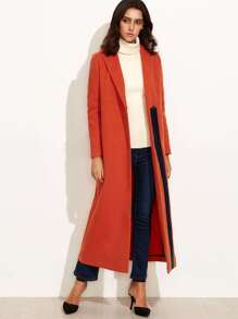 Orange Contrast Panel Slit Back Hidden Button Duster Coat