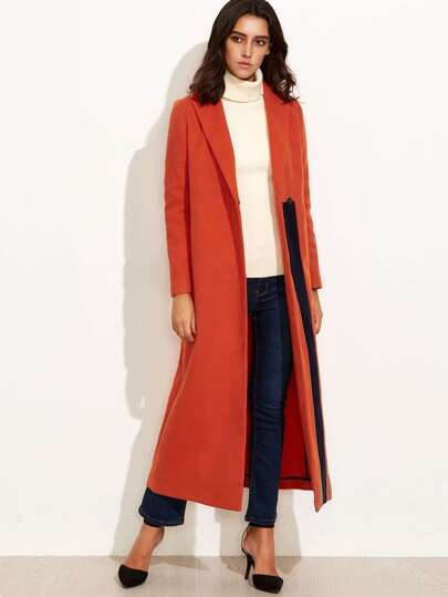 Contrast Panel Slit Back Hidden Button Duster Coat