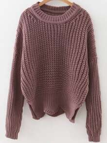 Cable-Knit Asymmetrical Hem Sweater