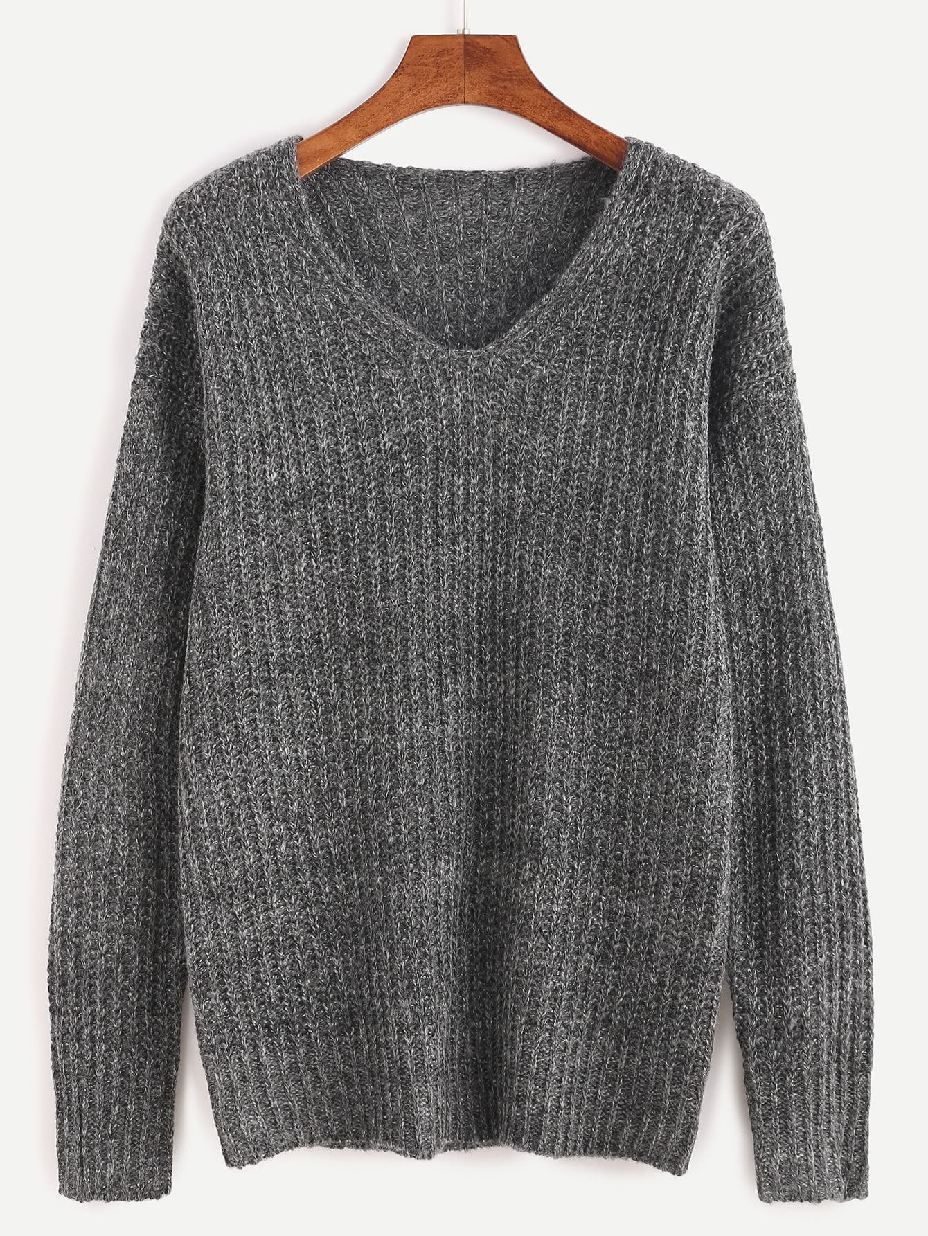 Grey Ribbed Knit Drop Shoulder Sweater sweater160920456