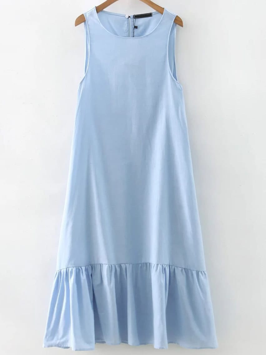 Blue Sleeveless Ruffle Hem Midi Dress dress160922201