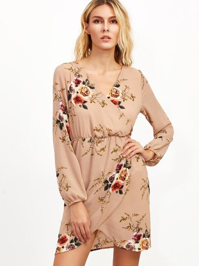 Nude Florals Elastic Waist Wrap Dress