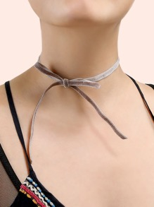Velvet Ribbon Choker Necklace TAUPE