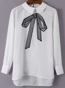 White Bow Embroidery High Low Blouse