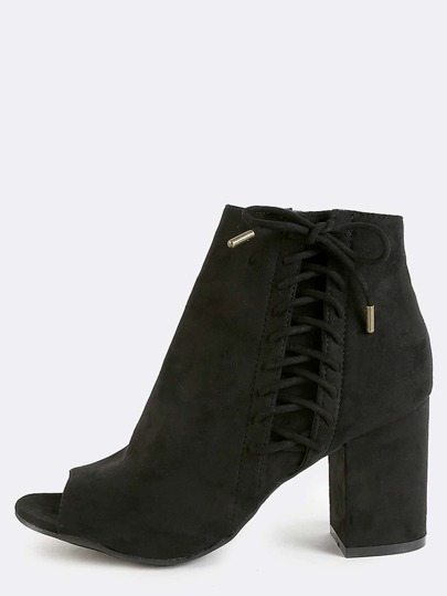 Peep Toe Lace Up Side Booties BLACK