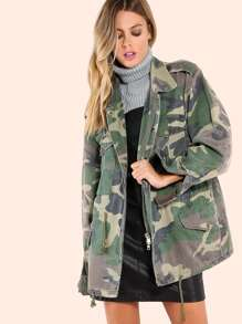 Oversized Safari Drawstring Camo Jacket CAMOUFLAGE