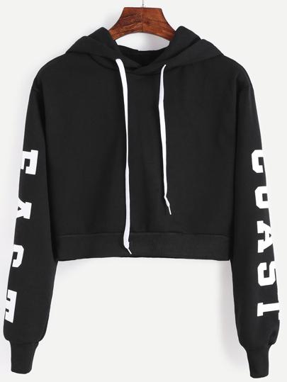 Sudadera con capucha y estampado de letras crop - negro