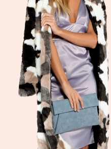 Fold Over Clutch Handbag BLUE