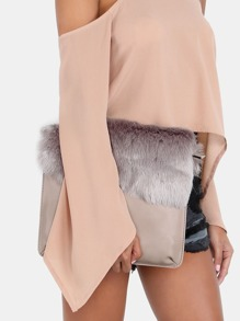 Faux Fur Flap Over Purse STONE