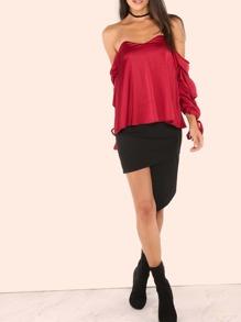 Side Zip Asymmetrical Skirt BLACK