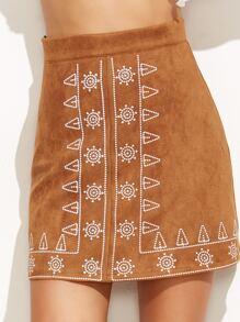 Falda línea A de antelina con bordado - camello