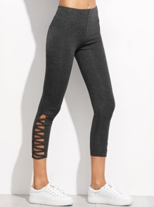 Lattice Hem Cropped Leggings