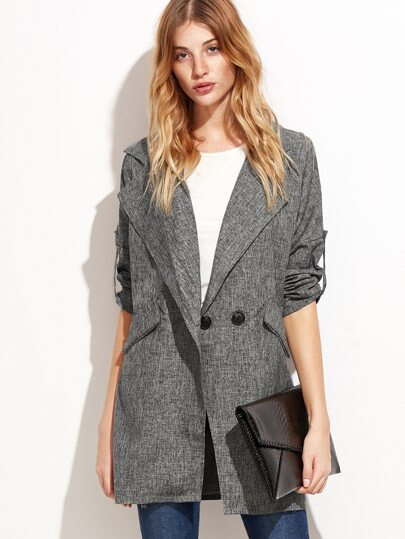 Roll Tab Sleeve Slit Side Longline Blazer