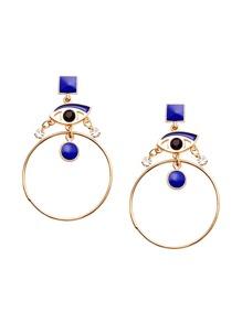 Blue Eye Rhinestone Circle Drop Earrings