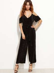 Black Cold Shoulder Self Tie Pleated Jumpsuit
