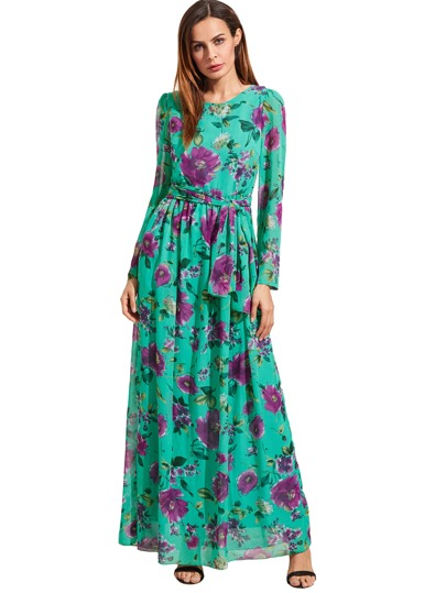 Self-Tie Rose Print Long Sleeve Chiffon Dress - Green