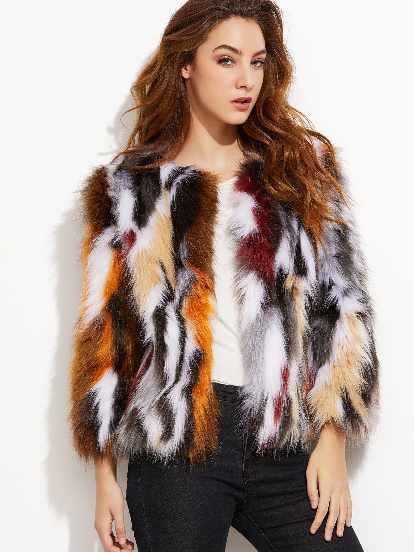 Coats Multi Faux Fur Collarless Party Elegant Short Winter Long Sleeve Outerwear.
