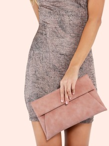 Fold Over Envelope Clutch Handbag MAUVE
