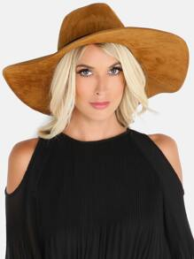 Wide Brim Ribbon Trim Hat CHESTNUT