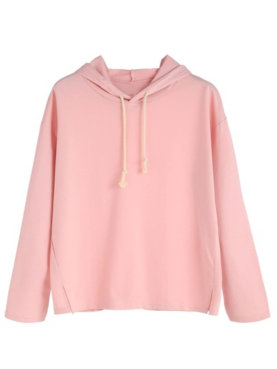 Pink Side Slit Hooded Sweatshirt