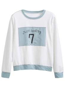 Contrast Trim Letter Print Patch Sweatshirt