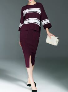 Burgundy White Striped Top With Split Skirt