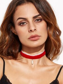 Red Velvet Lace Faux Pearl Choker Necklace